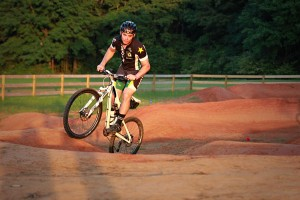 Michael Guidone, riding along the Sokol Park Pump Track
